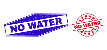 NO WATER stamps. Red circle and blue compressed hexagonal NO WATER watermarks. Flat vector grunge seals with NO WATER slogan inside rounded and compressed hexagonal shapes. 일러스트