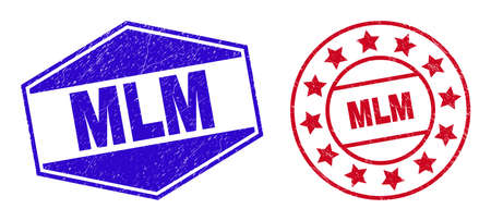 MLM stamps. Red round and blue flatten hexagon MLM seal stamps. Flat vector scratched seal stamps with MLM message inside rounded and extended hexagon shapes. Watermarks with scratched surface, 일러스트