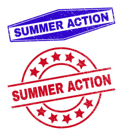 SUMMER ACTION badges. Red rounded and blue squeezed hexagonal SUMMER ACTION stamps. Flat vector distress stamps with SUMMER ACTION text inside circle and flatten hexagonal shapes. 일러스트