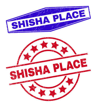 SHISHA PLACE stamps. Red circle and blue flatten hexagonal SHISHA PLACE seal stamps. Flat vector grunge seal stamps with SHISHA PLACE tag inside circle and extended hexagonal shapes.