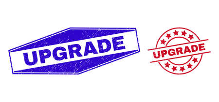 UPGRADE stamps. Red circle and blue flatten hexagon UPGRADE stamps. Flat vector textured stamps with UPGRADE slogan inside circle and expanded hexagon shapes. Rubber imitations with scratched surface,