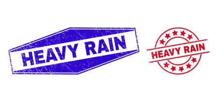 HEAVY RAIN stamps. Red circle and blue flatten hexagon HEAVY RAIN stamps. Flat vector scratched seals with HEAVY RAIN tag inside circle and flatten hexagon shapes. Watermarks with distress texture, 일러스트