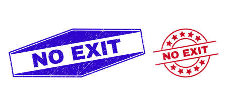NO EXIT badges. Red circle and blue compressed hexagon NO EXIT watermarks. Flat vector textured seal stamps with NO EXIT caption inside circle and stretched hexagon shapes. 일러스트