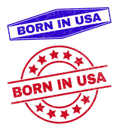 BORN IN USA stamps. Red circle and blue expanded hexagon BORN IN USA stamps. Flat vector textured stamps with BORN IN USA text inside circle and extended hexagon shapes.