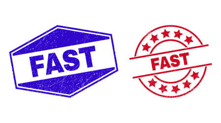 FAST stamps. Red rounded and blue extended hexagonal FAST seal stamps. Flat vector textured seal stamps with FAST slogan inside rounded and expanded hexagonal shapes. Watermarks with grunged surface, 일러스트