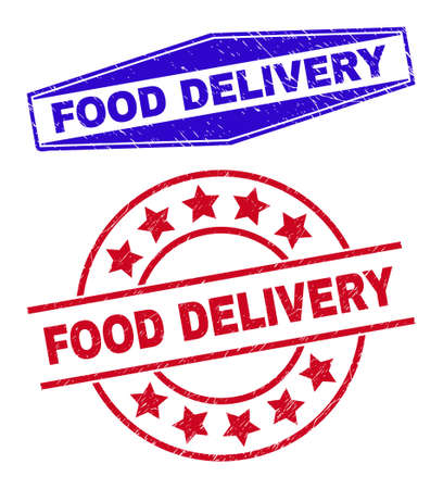 FOOD DELIVERY stamps. Red round and blue expanded hexagon FOOD DELIVERY rubber imprints. Flat vector textured seal stamps with FOOD DELIVERY slogan inside round and extended hexagon shapes.