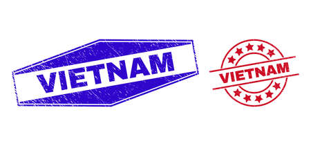 VIETNAM stamps. Red rounded and blue flatten hexagonal VIETNAM rubber imprints. Flat vector scratched stamps with VIETNAM tag inside rounded and extended hexagon shapes. Imprints with unclean surface, 일러스트