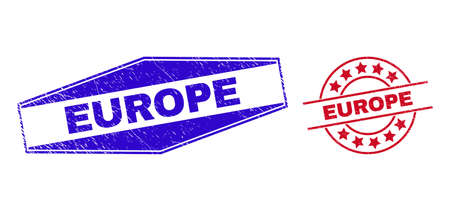 EUROPE stamps. Red circle and blue squeezed hexagonal EUROPE seal stamps. Flat vector distress seals with EUROPE title inside circle and squeezed hexagonal shapes. Watermarks with grunge surface, 일러스트