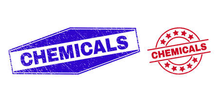 CHEMICALS badges. Red circle and blue stretched hexagon CHEMICALS seal stamps. Flat vector scratched seal stamps with CHEMICALS caption inside circle and expanded hexagon shapes.