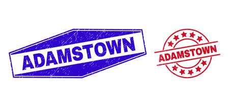 ADAMSTOWN badges. Red round and blue expanded hexagonal ADAMSTOWN rubber imprints. Flat vector grunge watermarks with ADAMSTOWN message inside rounded and expanded hexagonal shapes.