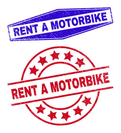RENT A MOTORBIKE stamps. Red round and blue flattened hexagonal RENT A MOTORBIKE rubber imprints. Flat vector scratched stamps with RENT A MOTORBIKE title inside rounded and flattened hexagon shapes.