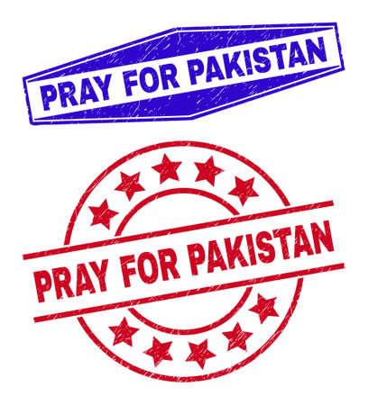 PRAY FOR PAKISTAN stamps. Red rounded and blue flatten hexagon PRAY FOR PAKISTAN rubber imprints. Flat vector grunge stamps with PRAY FOR PAKISTAN phrase inside rounded and compressed hexagon shapes. 일러스트
