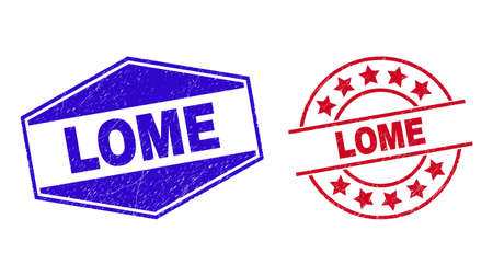 LOME stamps. Red rounded and blue flatten hexagon LOME watermarks. Flat vector distress stamps with LOME text inside round and flatten hexagon shapes. Watermarks with grunge surface, 일러스트