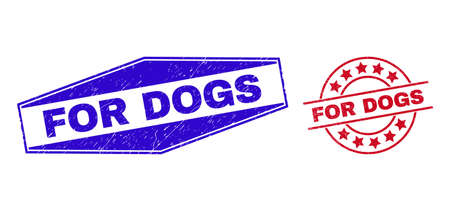 FOR DOGS stamps. Red rounded and blue expanded hexagon FOR DOGS seal stamps. Flat vector grunge seal stamps with FOR DOGS message inside rounded and flattened hexagon shapes.