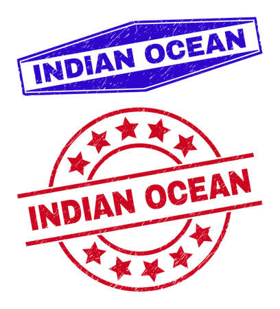 INDIAN OCEAN badges. Red round and blue expanded hexagon INDIAN OCEAN seals. Flat vector textured seals with INDIAN OCEAN tag inside round and stretched hexagon shapes. Watermarks with unclean style,