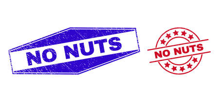 NO NUTS badges. Red round and blue squeezed hexagon NO NUTS rubber imprints. Flat vector scratched watermarks with NO NUTS title inside rounded and flattened hexagon shapes.