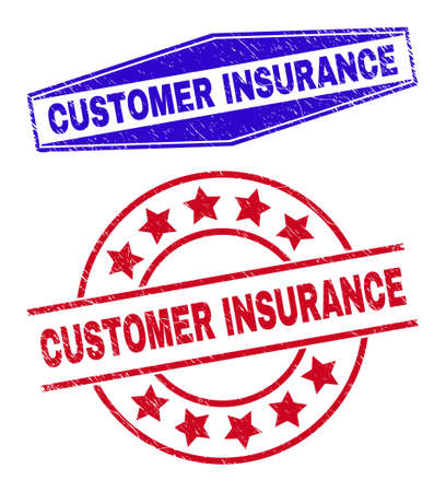 CUSTOMER INSURANCE stamps. Red rounded and blue stretched hexagon CUSTOMER INSURANCE seals. Flat vector scratched seal stamps with CUSTOMER INSURANCE tag inside rounded and compressed hexagon shapes.