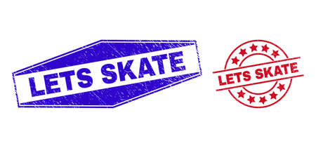 LETS SKATE badges. Red circle and blue flatten hexagon LETS SKATE watermarks. Flat vector grunge watermarks with LETS SKATE caption inside circle and extended hexagon shapes.