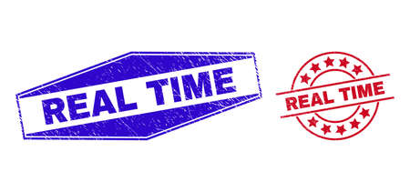 REAL TIME badges. Red round and blue flattened hexagonal REAL TIME stamps. Flat vector distress stamps with REAL TIME tag inside round and flattened hexagon shapes. Imprints with scratched style,