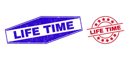 LIFE TIME badges. Red round and blue squeezed hexagonal LIFE TIME watermarks. Flat vector textured watermarks with LIFE TIME caption inside circle and squeezed hexagonal shapes. 일러스트