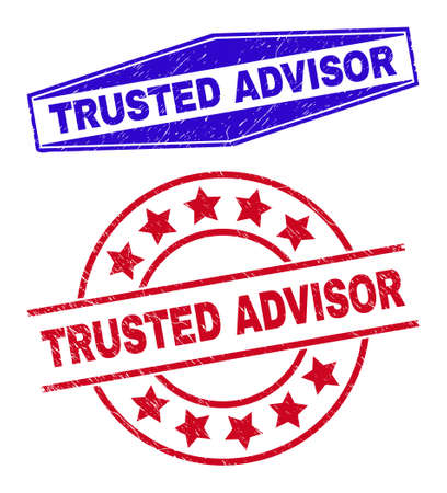 TRUSTED ADVISOR stamps. Red rounded and blue squeezed hexagon TRUSTED ADVISOR watermarks. Flat vector grunge watermarks with TRUSTED ADVISOR text inside rounded and flatten hexagonal shapes.