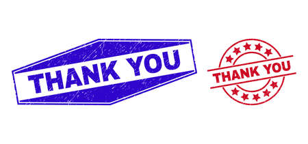 THANK YOU stamps. Red circle and blue stretched hexagonal THANK YOU seal stamps. Flat vector textured watermarks with THANK YOU phrase inside circle and squeezed hexagonal shapes. Vektoros illusztráció