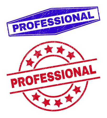 PROFESSIONAL badges. Red rounded and blue