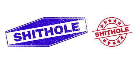 SHITHOLE stamps. Red rounded and blue squeezed hexagonal SHITHOLE seal stamps. Flat vector distress seal stamps with SHITHOLE slogan inside rounded and flattened hexagonal shapes.