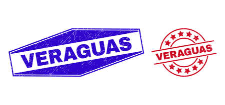 VERAGUAS badges. Red round and blue flattened hexagon VERAGUAS rubber imprints. Flat vector grunge seal stamps with VERAGUAS slogan inside round and stretched hexagonal shapes.