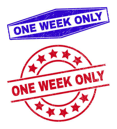 ONE WEEK ONLY stamps. Red rounded and blue flatten hexagon ONE WEEK ONLY stamps. Flat vector grunge stamps with ONE WEEK ONLY phrase inside circle and extended hexagon shapes. Vector Illustration