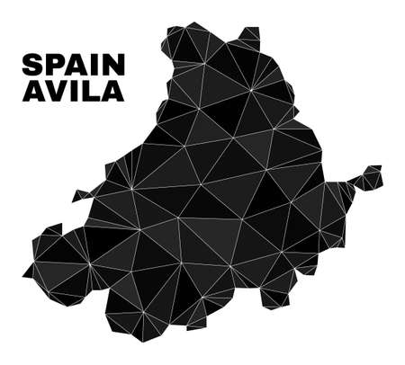lowpoly Avila Province map. Polygonal Avila Province map vector is filled of chaotic triangles. Triangulated Avila Province map polygonal model for education templates.