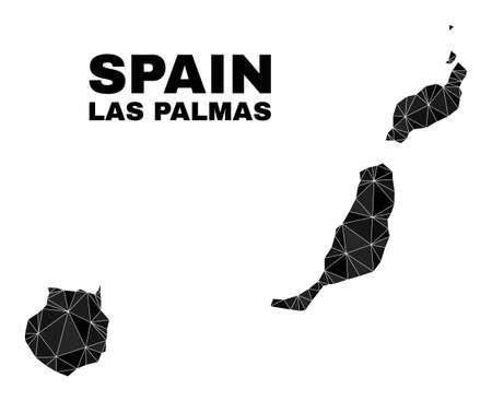 Low-poly Las Palmas Province map. Polygonal Las Palmas Province map vector filled with chaotic triangles. Triangulated Las Palmas Province map polygonal collage for political purposes. Ilustración de vector