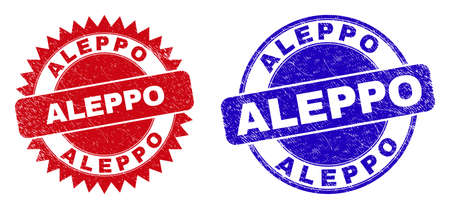Round and rosette ALEPPO seal stamps. Flat vector scratched seal stamps with ALEPPO slogan inside round and sharp rosette form, in red and blue colors. Imprints with unclean texture,