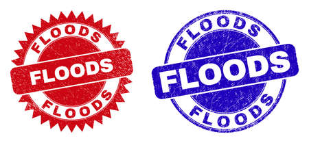 Round and rosette FLOODS seals. Flat vector grunge seal stamps with FLOODS phrase inside round and sharp rosette form, in red and blue colors. Imprints with unclean texture, on a white background.