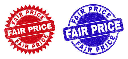 Round and rosette FAIR PRICE stamps. Flat vector distress stamps with FAIR PRICE phrase inside round and sharp rosette shape, in red and blue colors. Imprints with grunge texture,