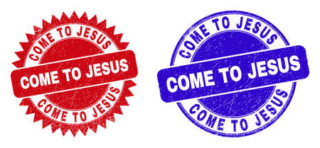 Rounded and rosette COME TO JESUS seal stamps. Flat vector grunge stamps with COME TO JESUS message inside round and sharp rosette shape, in red and blue colors. Watermarks with scratched style, Ilustración de vector
