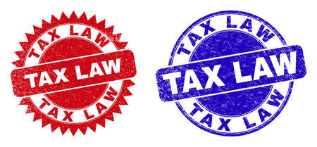 Round and rosette TAX LAW watermarks. Flat vector textured stamps with TAX LAW slogan inside round and sharp rosette form, in red and blue colors. Watermarks with unclean style, on a white background.
