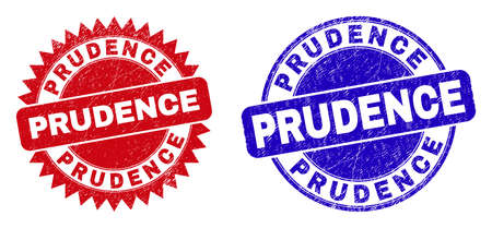 Round and rosette PRUDENCE seal stamps. Flat vector textured stamps with PRUDENCE text inside round and sharp rosette form, in red and blue colors. Rubber imitations with corroded style, Vektorové ilustrace