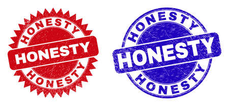 Round and rosette HONESTY seals. Flat vector distress seals with HONESTY tag inside round and sharp rosette form, in red and blue colors. Watermarks with grunged surface, on a white background.