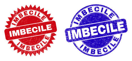 Round and rosette IMBECILE seal stamps. Flat vector textured stamps with IMBECILE message inside round and sharp rosette form, in red and blue colors. Rubber imitations with corroded texture,