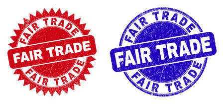 Round and rosette FAIR TRADE seal stamps. Flat vector scratched stamps with FAIR TRADE phrase inside round and sharp rosette shape, in red and blue colors. Imprints with unclean style,