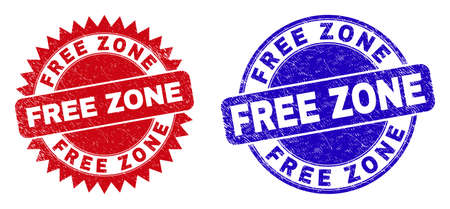 Round and rosette FREE ZONE seal stamps. Flat vector textured seal stamps with FREE ZONE message inside round and sharp rosette shape, in red and blue colors. Imprints with unclean surface,
