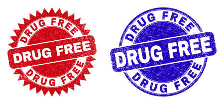 Round and rosette DRUG FREE watermarks. Flat vector grunge watermarks with DRUG FREE slogan inside round and sharp rosette shape, in red and blue colors. Imprints with unclean surface,