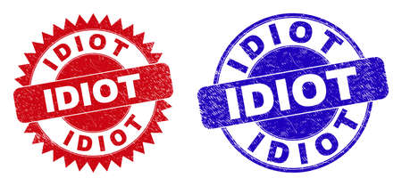 Round and rosette IDIOT seal stamps. Flat vector distress seal stamps with IDIOT slogan inside round and sharp rosette form, in red and blue colors. Imprints with grunged surface, Vektoros illusztráció