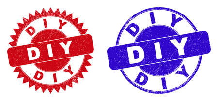 Round and rosette D I Y stamps. Flat vector distress seal stamps with D I Y slogan inside round and sharp rosette form, in red and blue colors. Watermarks with unclean surface, on a white background. Vektorgrafik