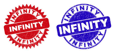 Round and rosette INFINITY seal stamps. Flat vector distress seal stamps with INFINITY text inside round and sharp rosette form, in red and blue colors. Vecteurs