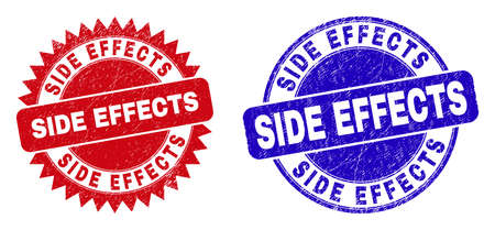 Round and rosette SIDE EFFECTS seals. Flat vector grunge watermarks with SIDE EFFECTS tag inside round and sharp rosette shape, in red and blue colors.