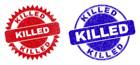 Round and rosette KILLED seal stamps. Flat vector scratched seal stamps with KILLED message inside round and sharp rosette form, in red and blue colors.