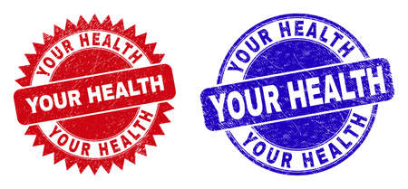 Round and rosette YOUR HEALTH seal stamps. Flat vector textured seal stamps with YOUR HEALTH phrase inside round and sharp rosette form, in red and blue colors.