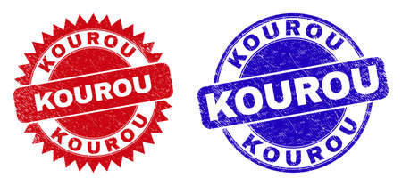 Round and rosette KOUROU watermarks. Flat vector distress stamps with KOUROU phrase inside round and sharp rosette form, in red and blue colors. Imprints with distress texture, on a white background.